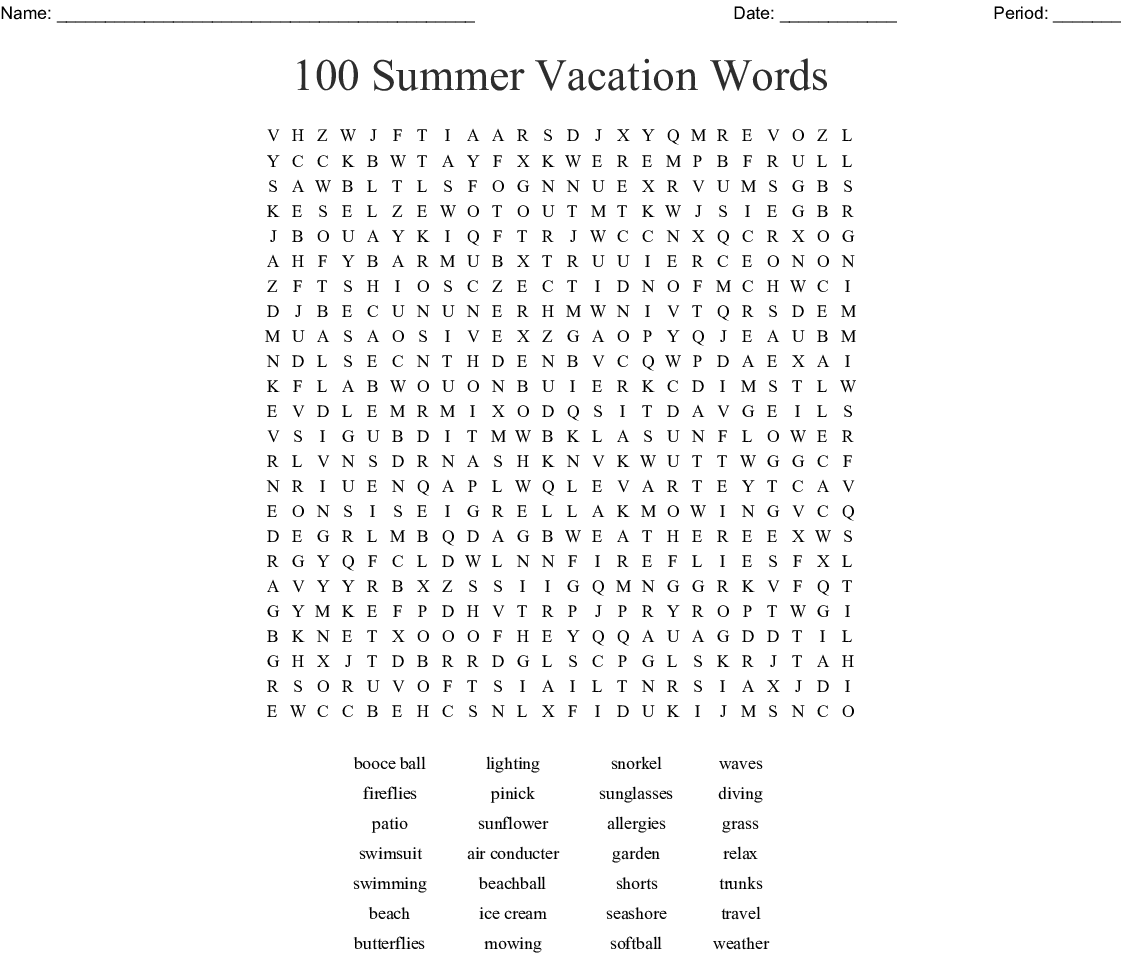 End Of The Year Word Search Wordmint