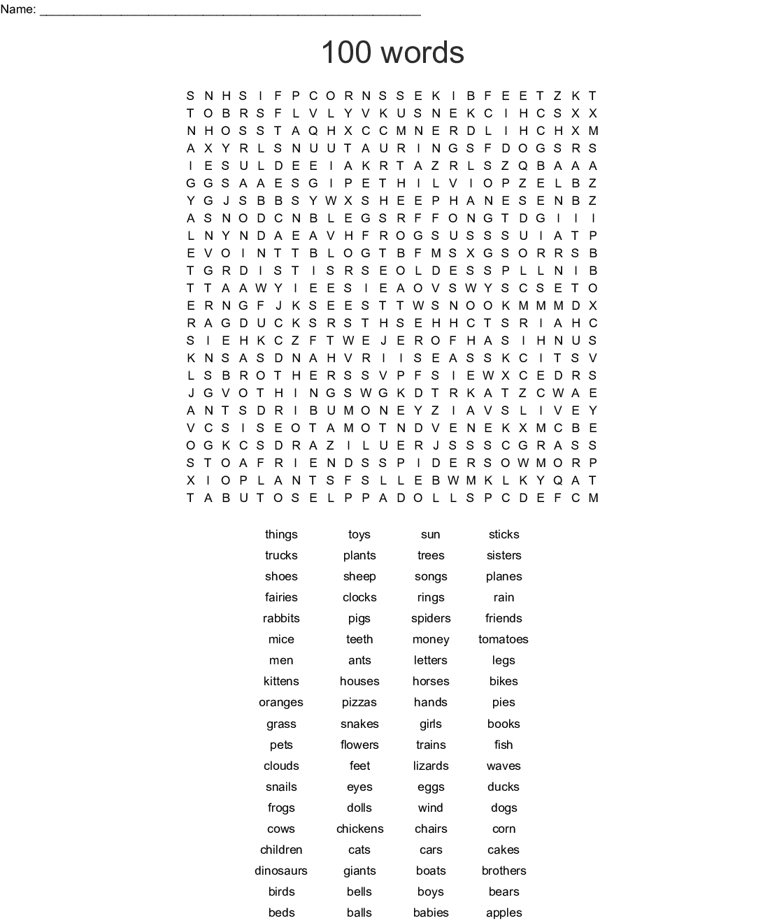 photograph about 100 Word Word Search Printable identify 100 terms Phrase Look - WordMint