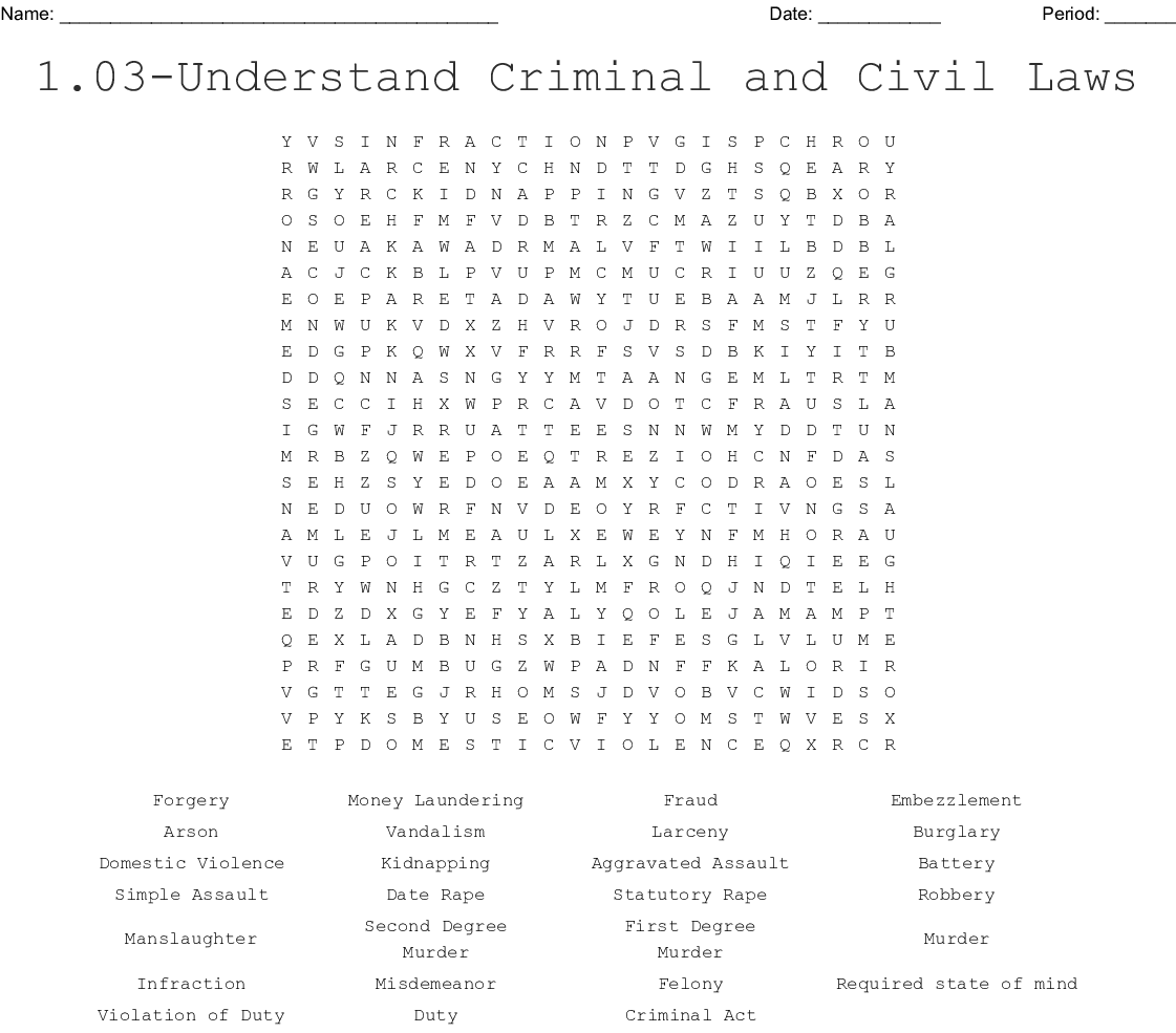Crime Word Search - WordMint