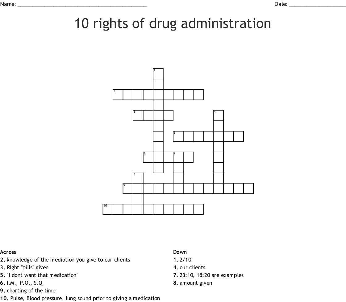 10 Rights Of Drug Administration Crossword Wordmint