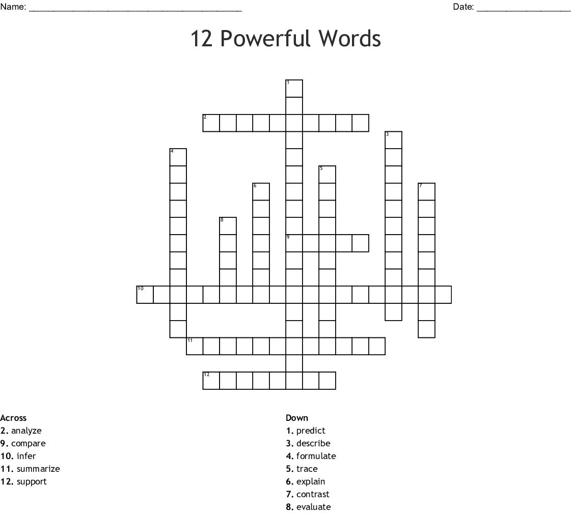 12 Powerful Words Vocabulary Crossword Wordmint