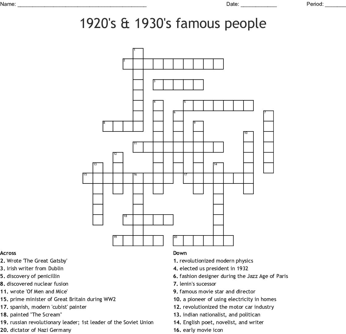 1920 S 1930 S Famous People Crossword Wordmint