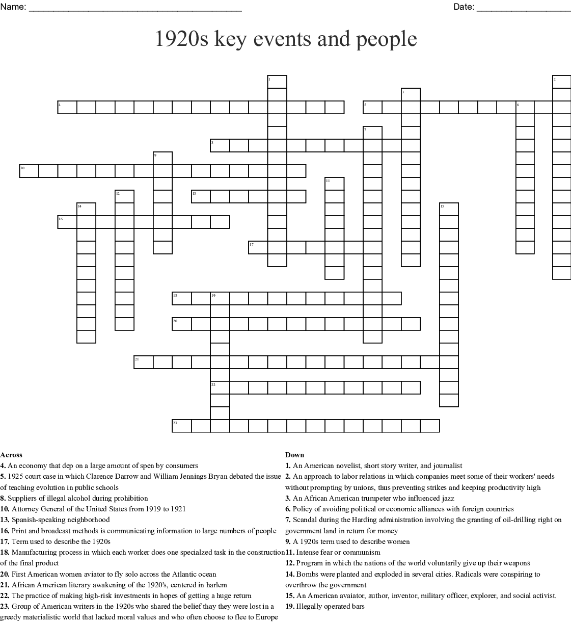 1920s Key Events And People Crossword Wordmint