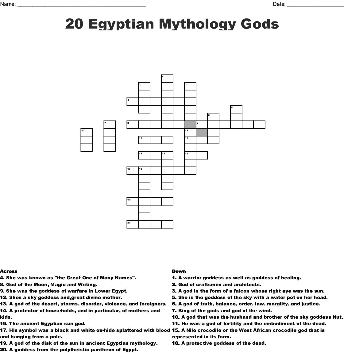 Gods and Goddesses of Ancient Egypt Crossword - WordMint