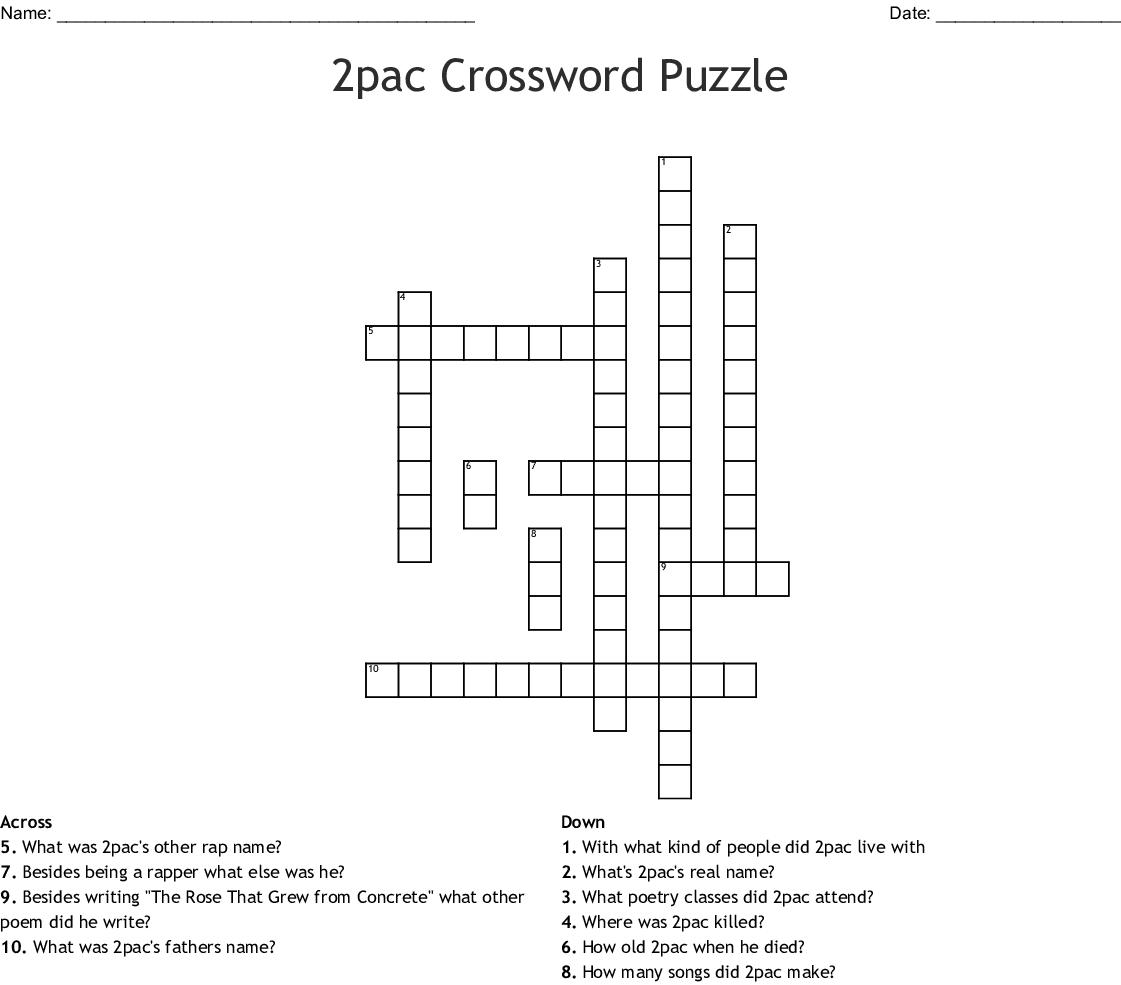 2pac Crossword Puzzle - WordMint