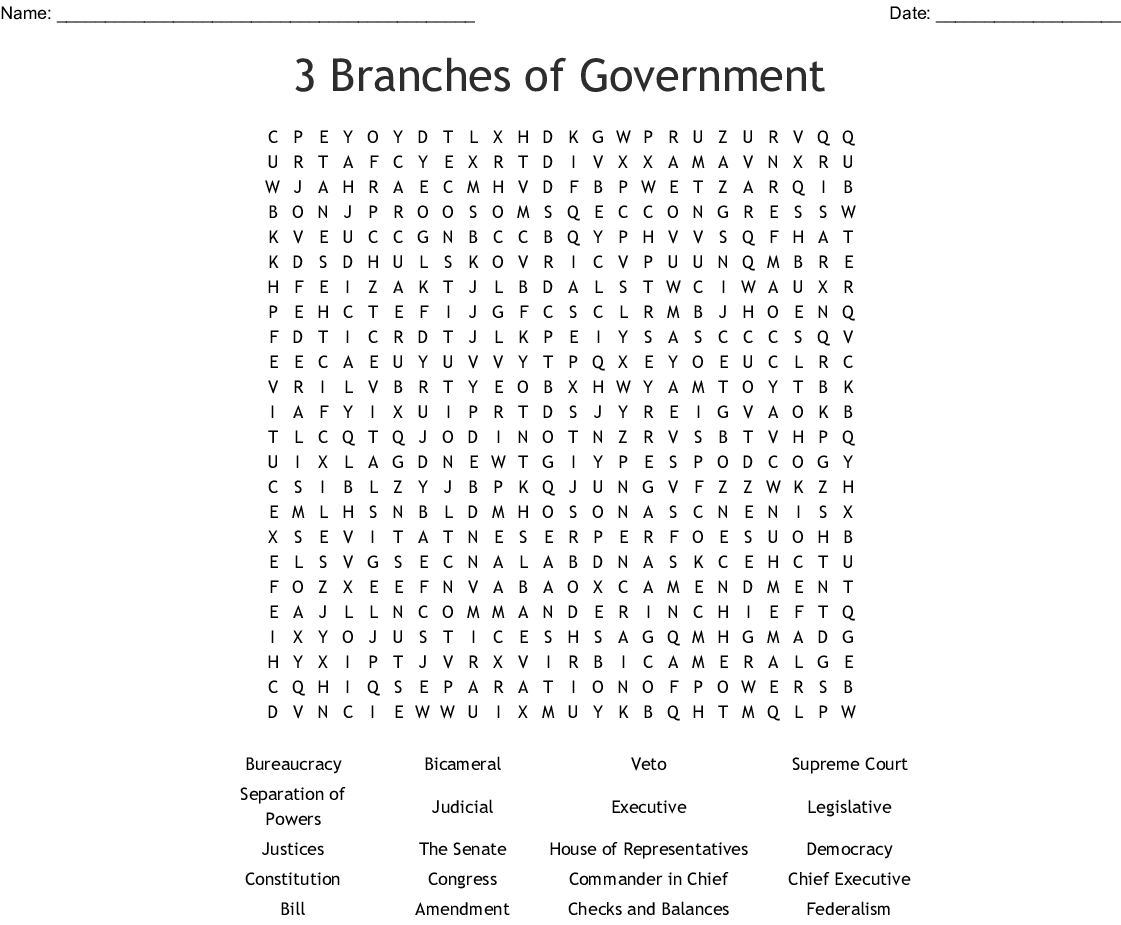 Government Word Search - WordMint
