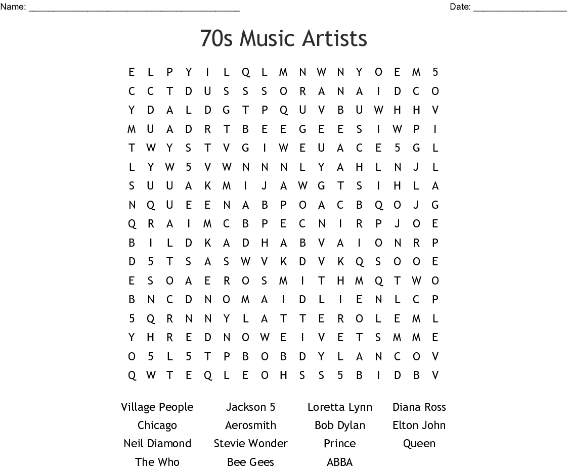 70's Music Word Search - WordMint