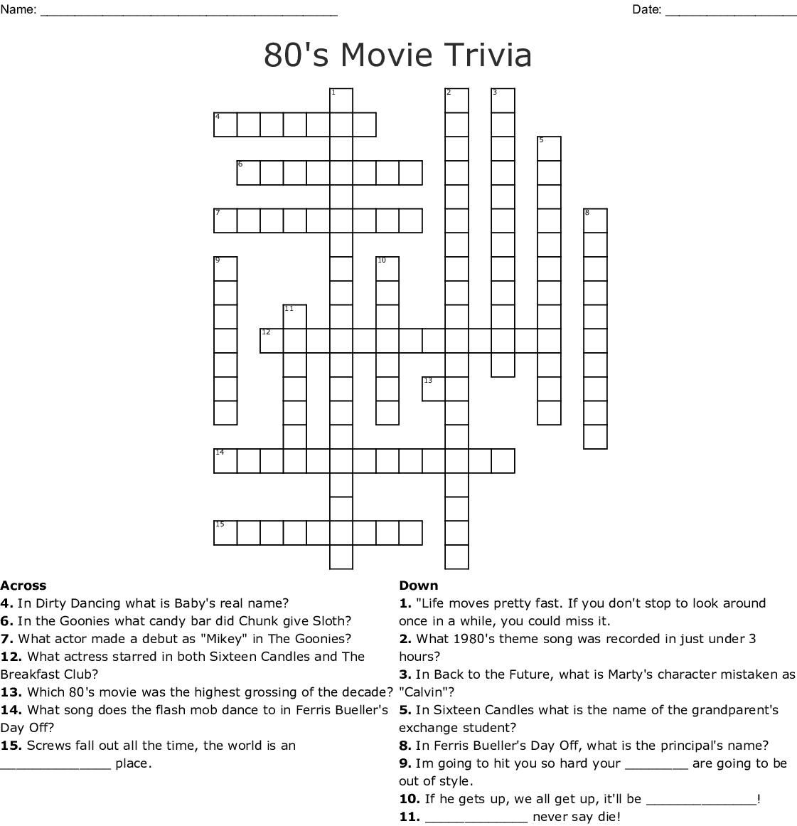 We Love the 80's Crossword - WordMint