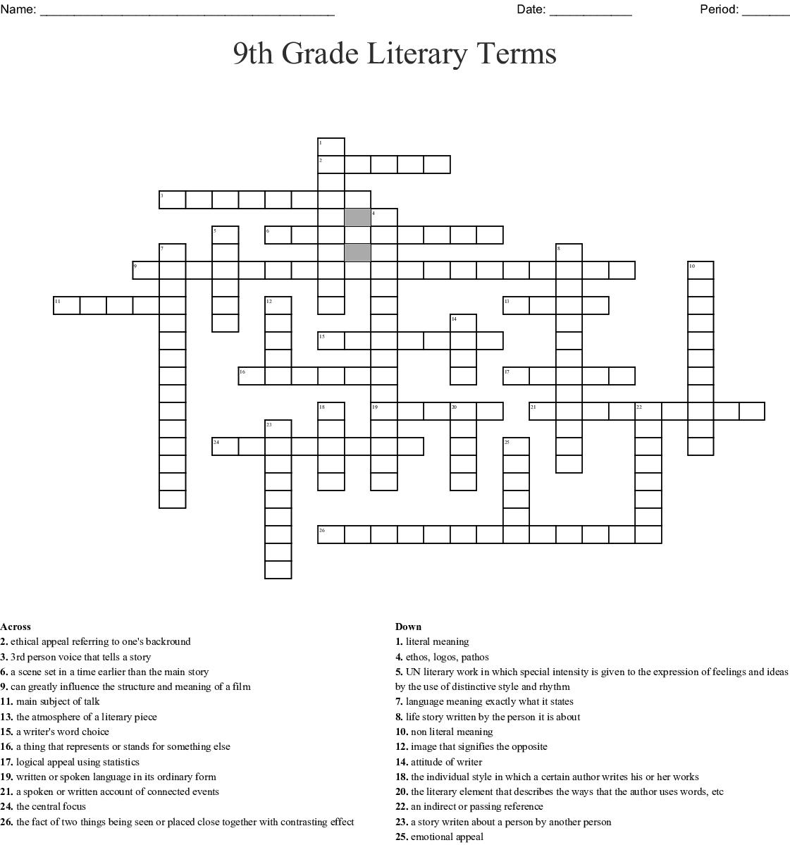 9th Grade Literary Terms Crossword - WordMint