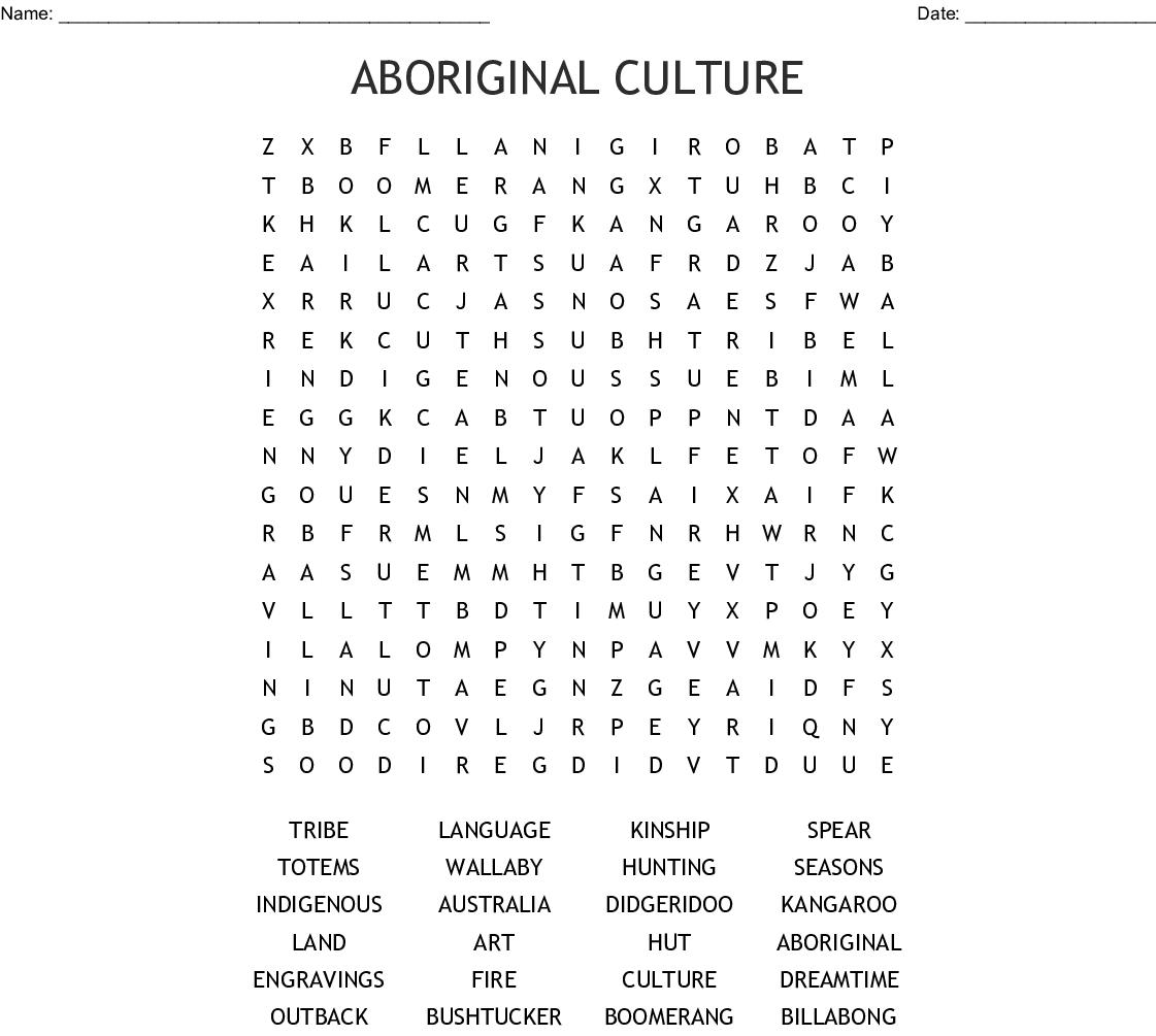 Aboriginal Art Word Search Wordmint
