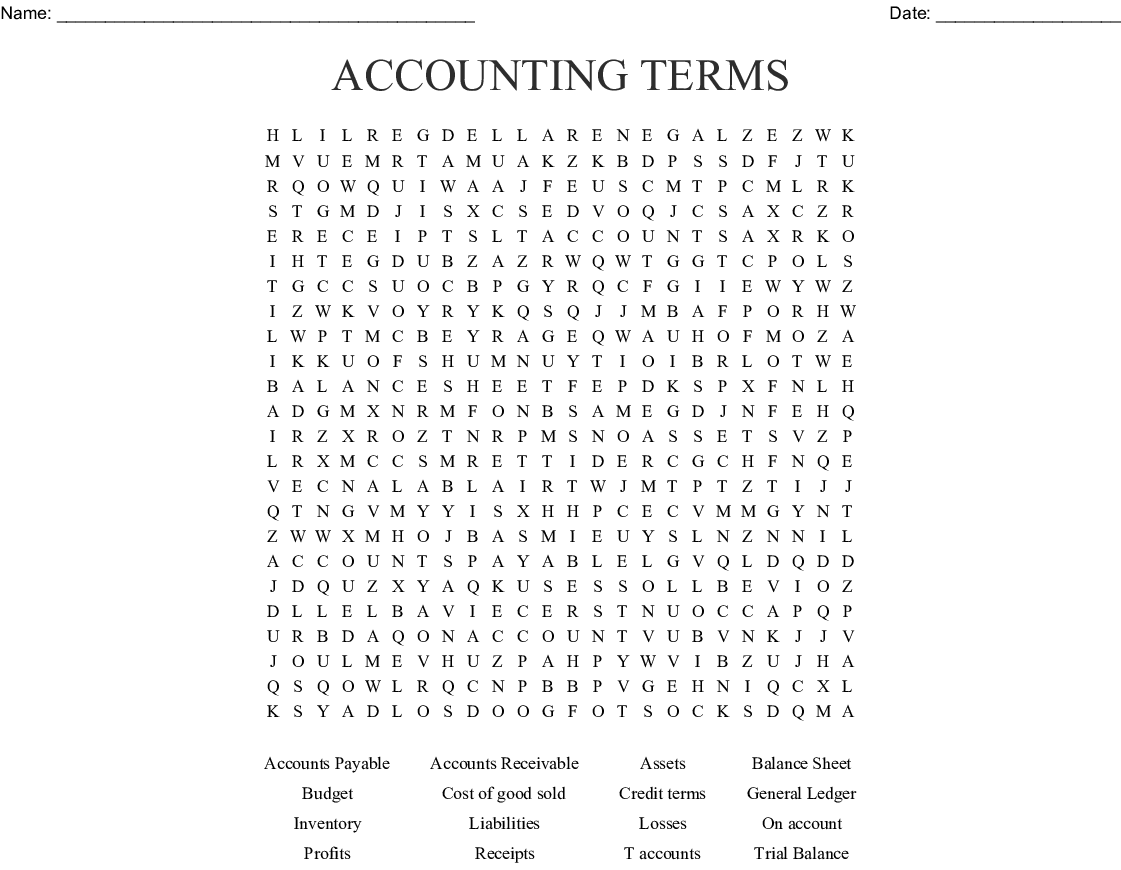 Accounting & Auditing Crosswords, Word Searches, Bingo Cards - WordMint