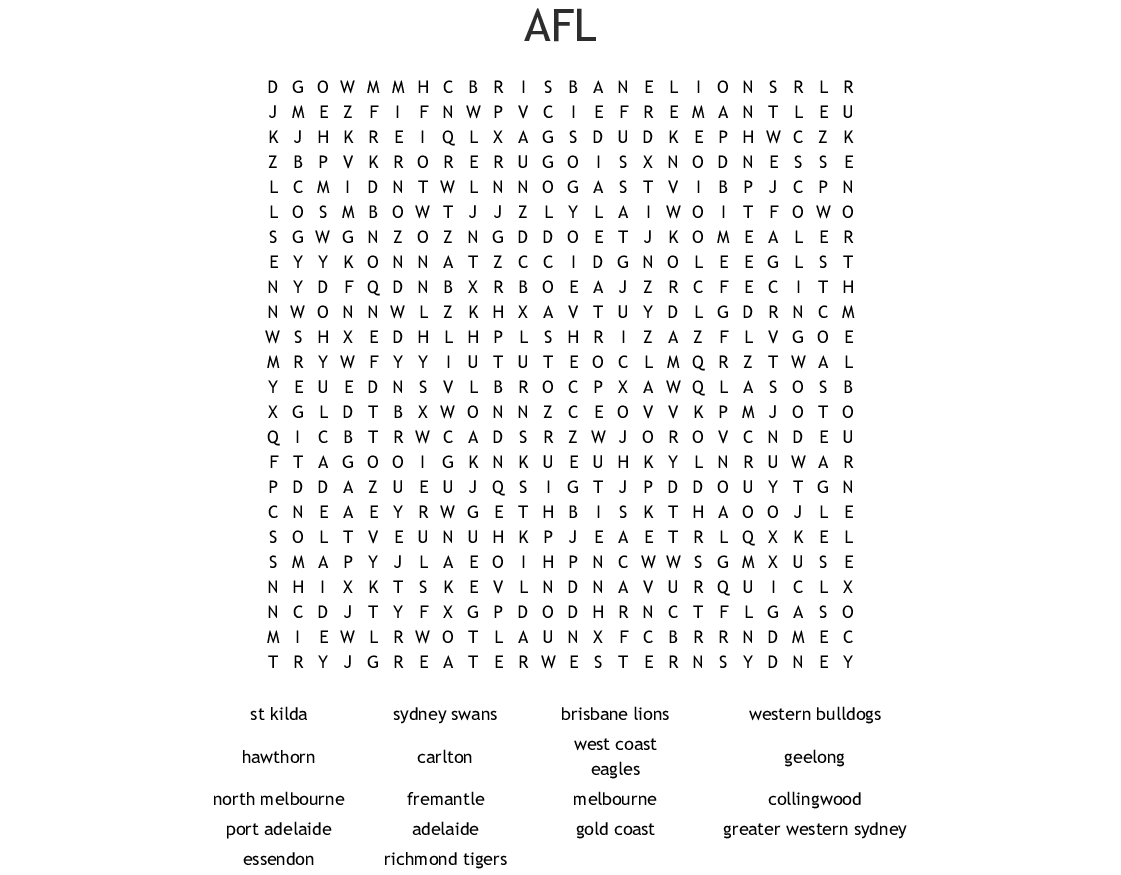 Similar to AFL WORD SEARCH - WordMint