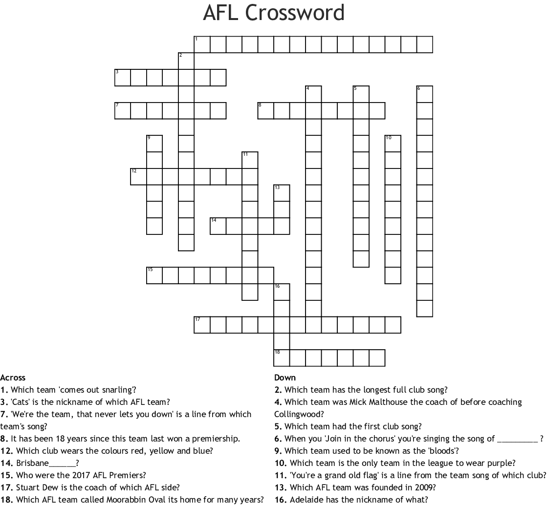 AFL Teams Crossword - WordMint