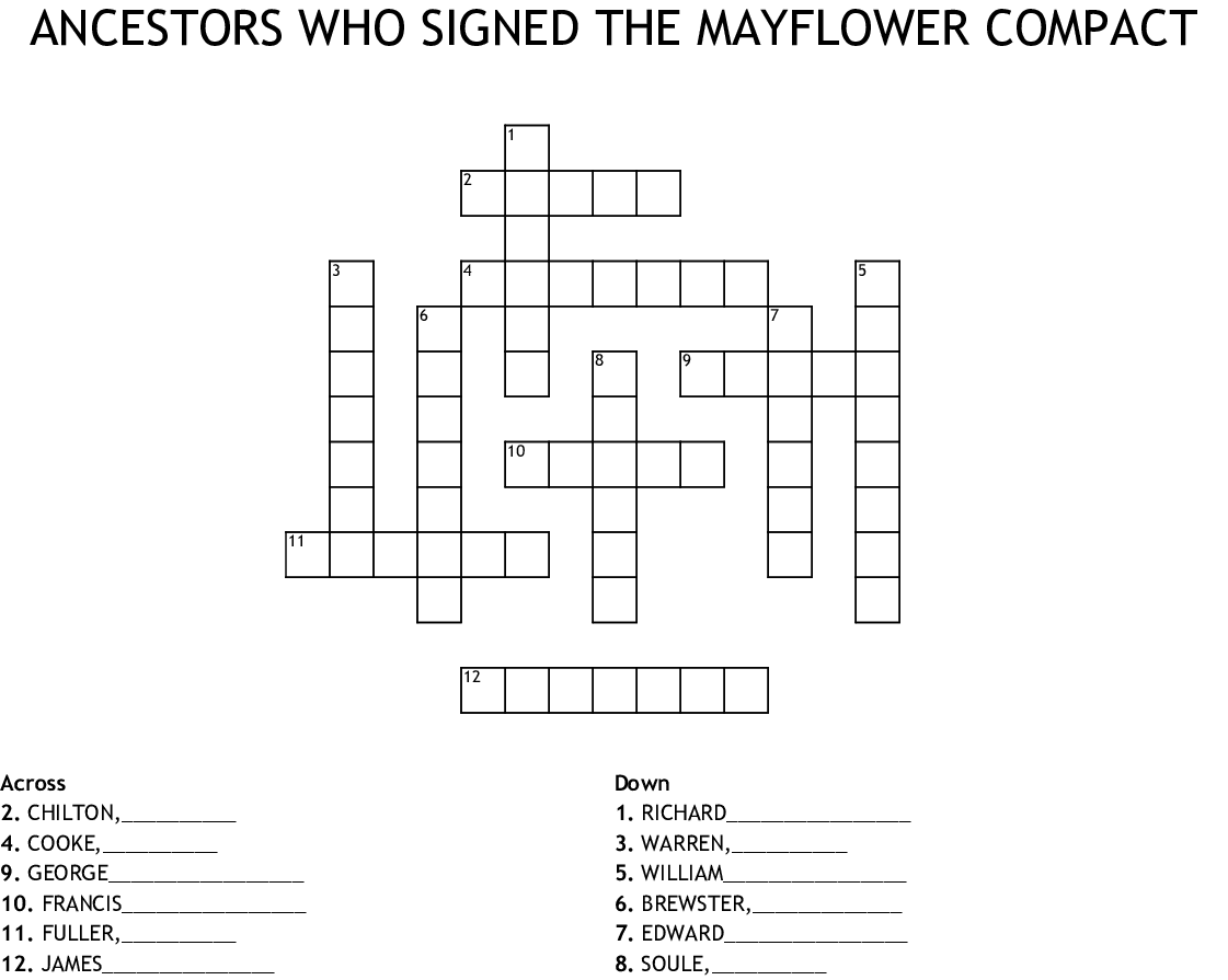 ANCESTORS WHO SIGNED THE MAYFLOWER COMPACT Crossword ...