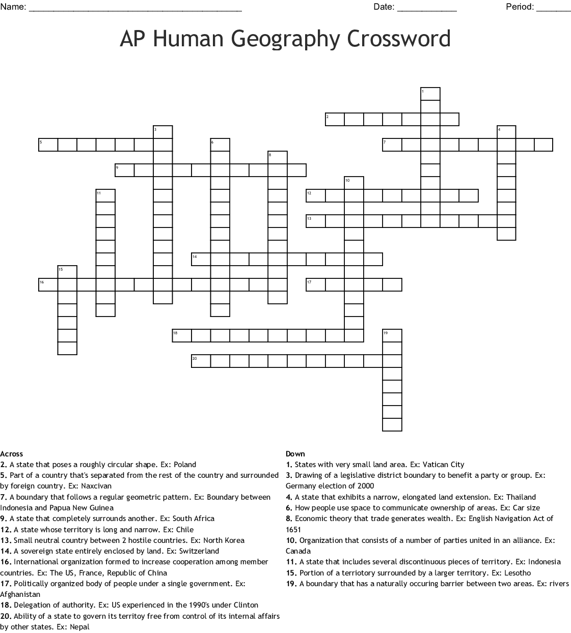 Advanced Crossword Puzzle Geography Answers | crossword ...