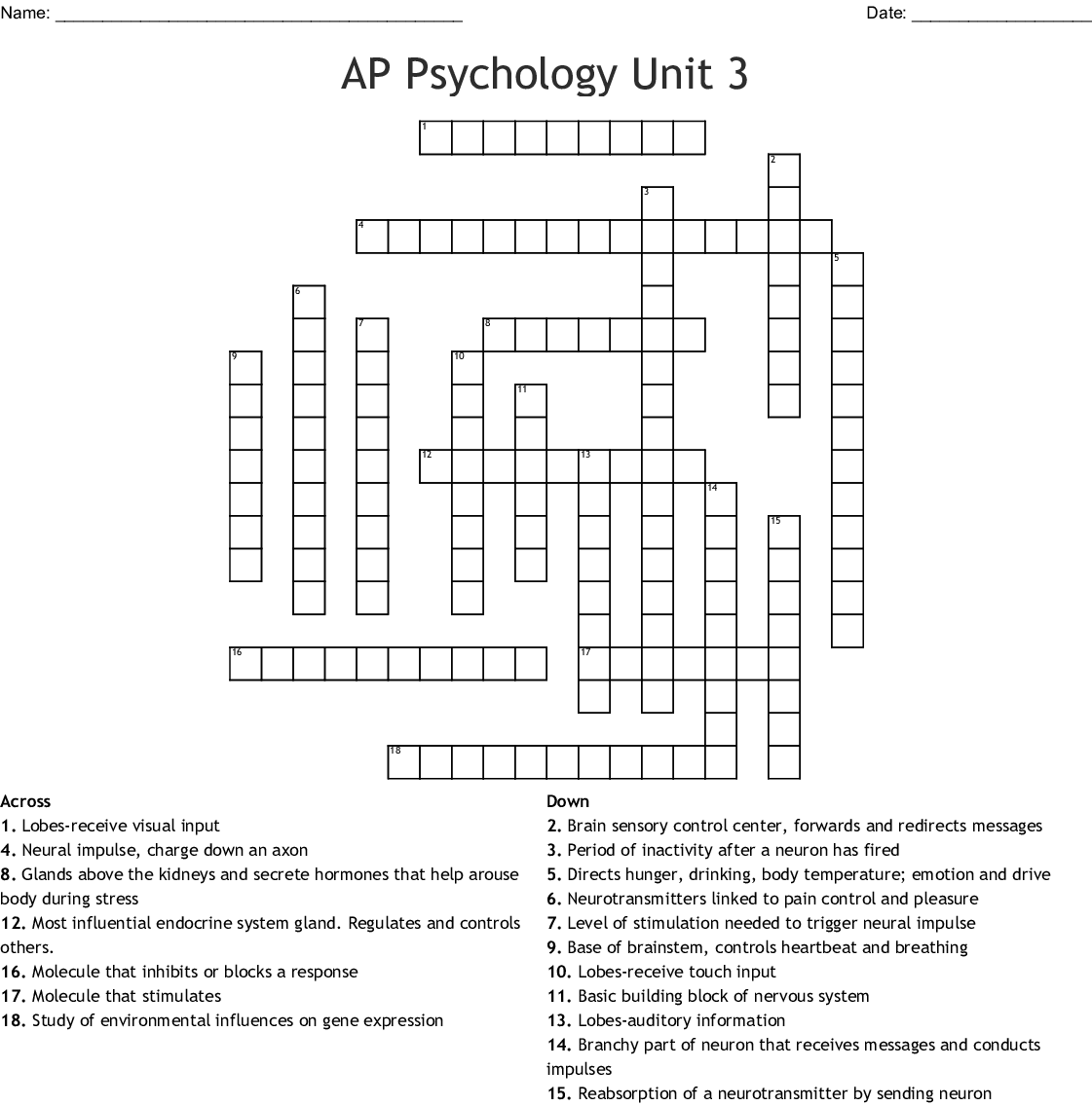 Ap PSychology Review Crossword   WordMint