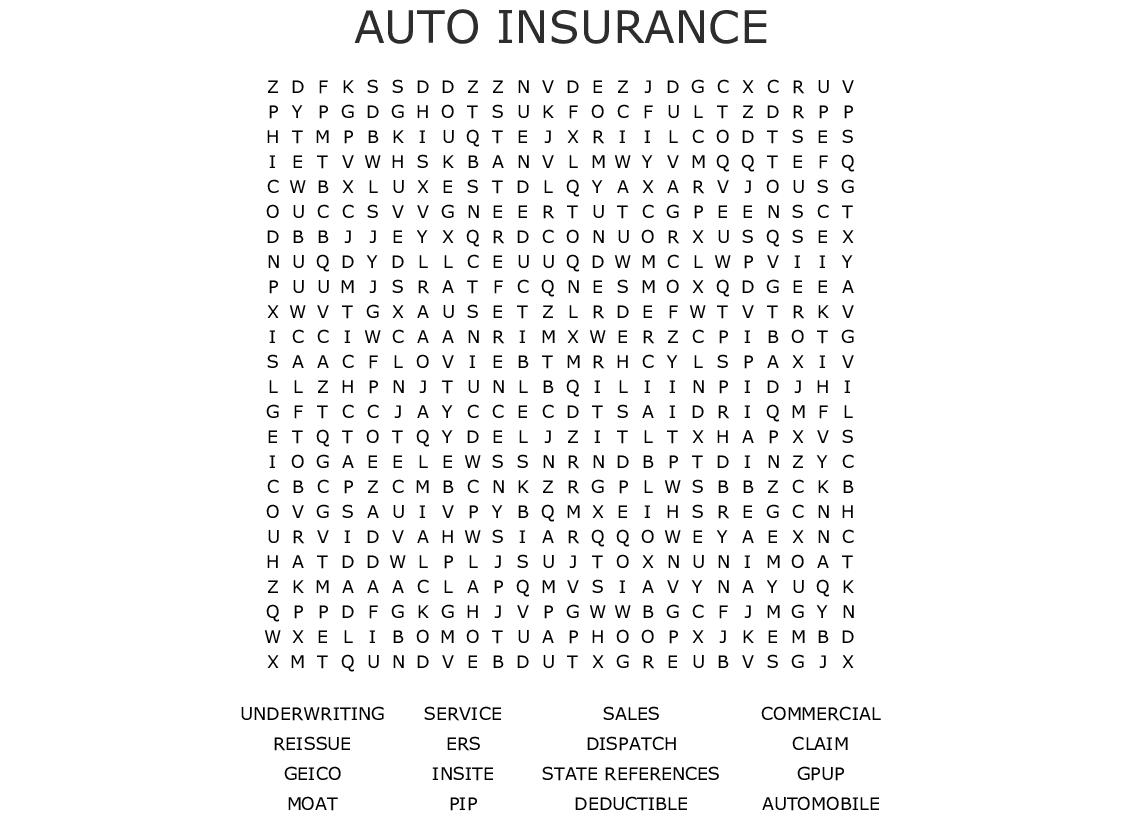 AUTO INSURANCE Word Search