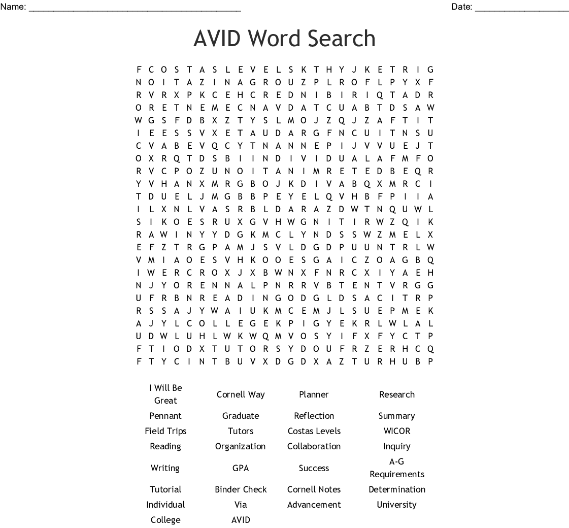 AVID Word Search