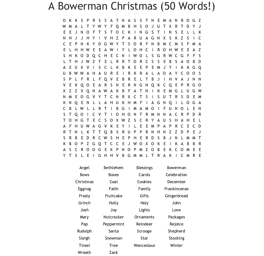A Bowerman Christmas (50 Words!) Word