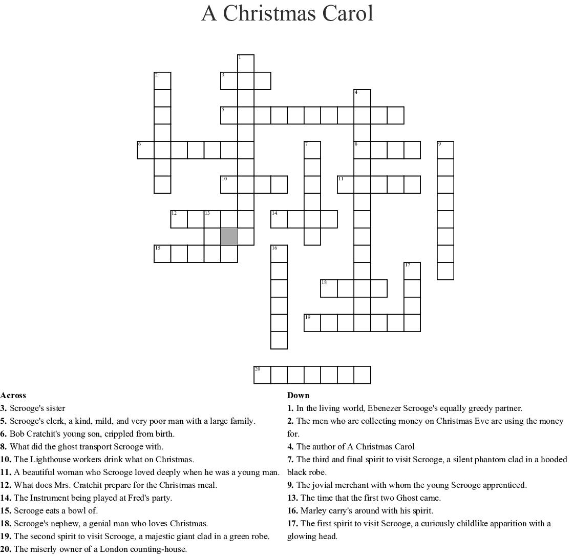 A Christmas Carol Word Search - WordMint