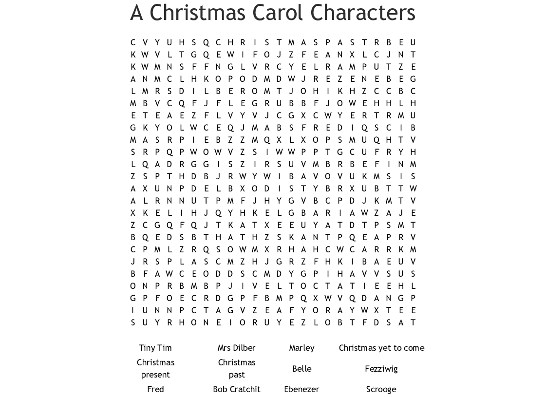 A Christmas Carol Characters.A Christmas Carol Characters Word Search Wordmint