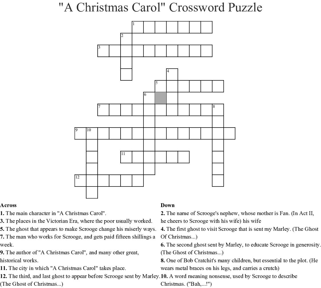 """A Christmas Carol"" Crossword Puzzle Crossword. """