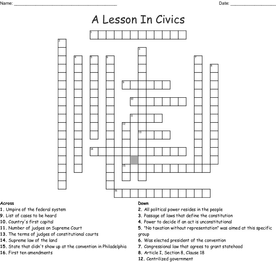 A Lesson In Civics Crossword - WordMint