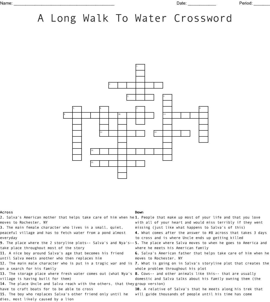 Salva and Nya and YOU - A Long Walk to Water Crossword ...