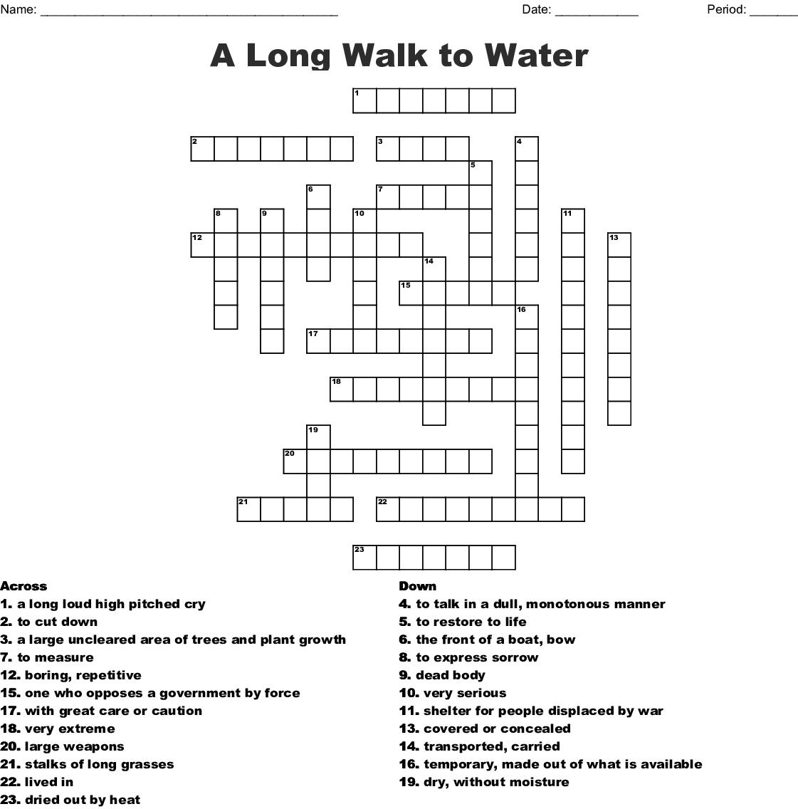 A Long Walk To Water Crossword Wordmint