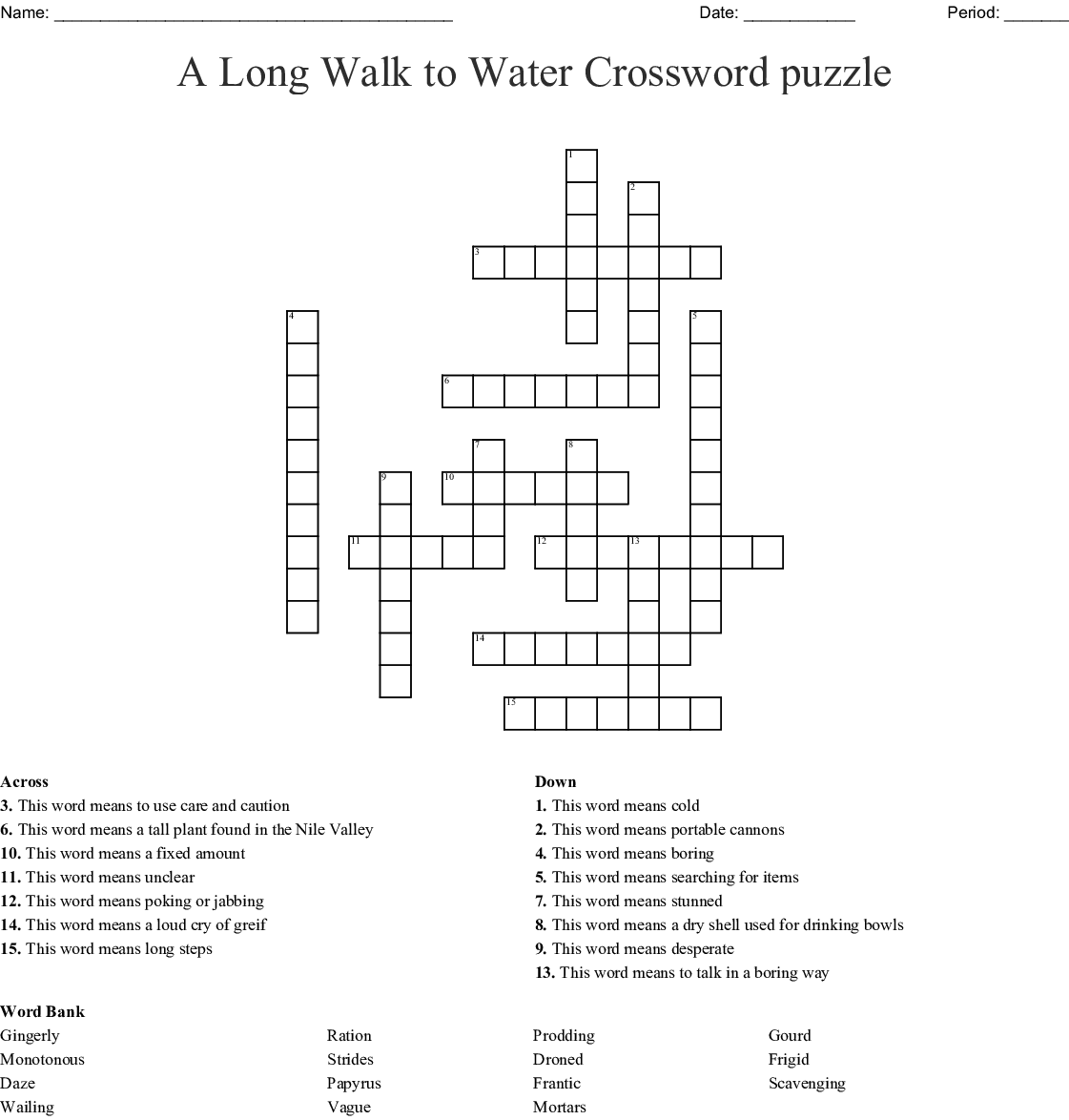 A Long Walk To Water Crossword Puzzle Wordmint