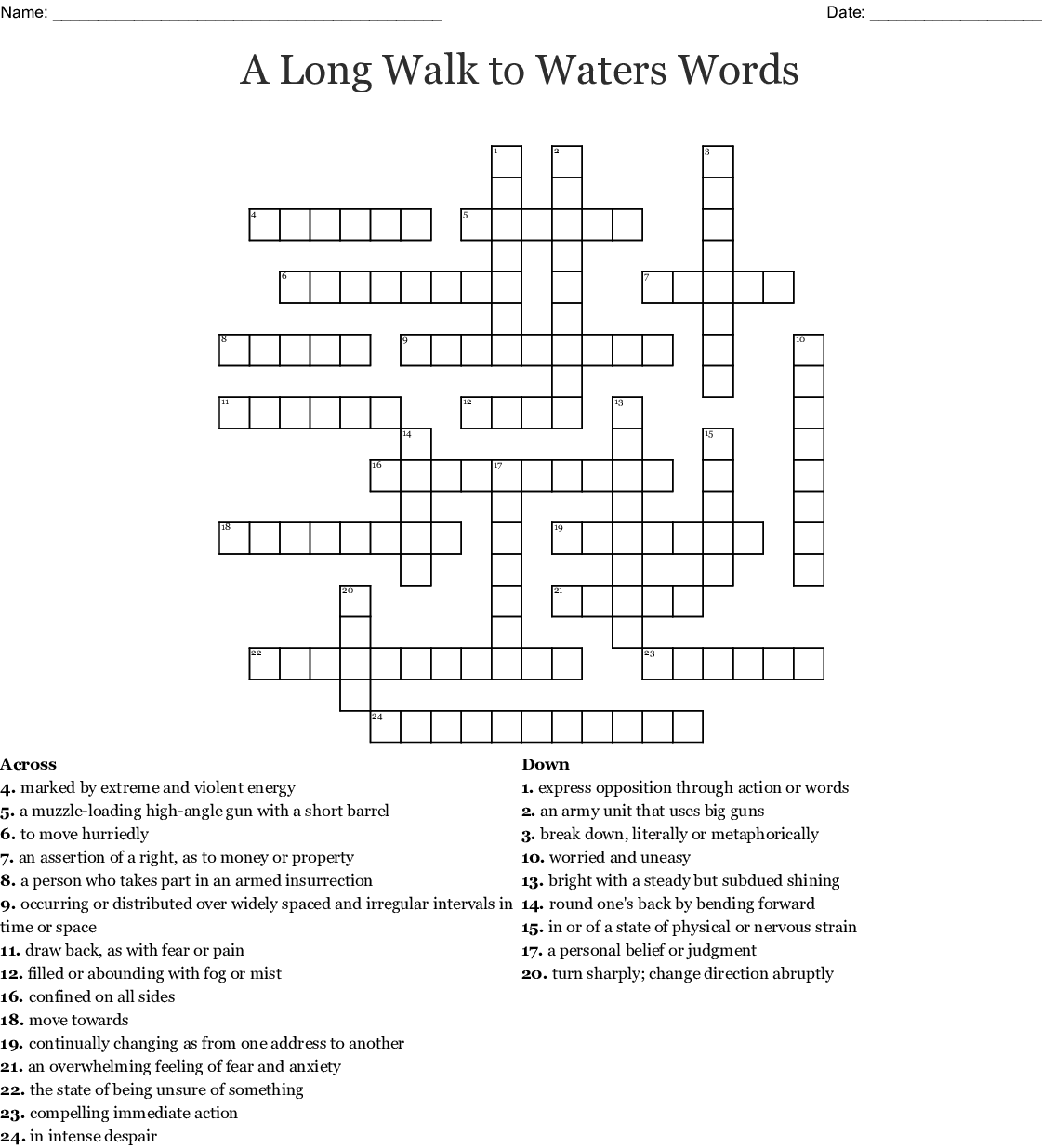 A Long Walk To Water Ch 1 3 Vocabulary Crossword Wordmint