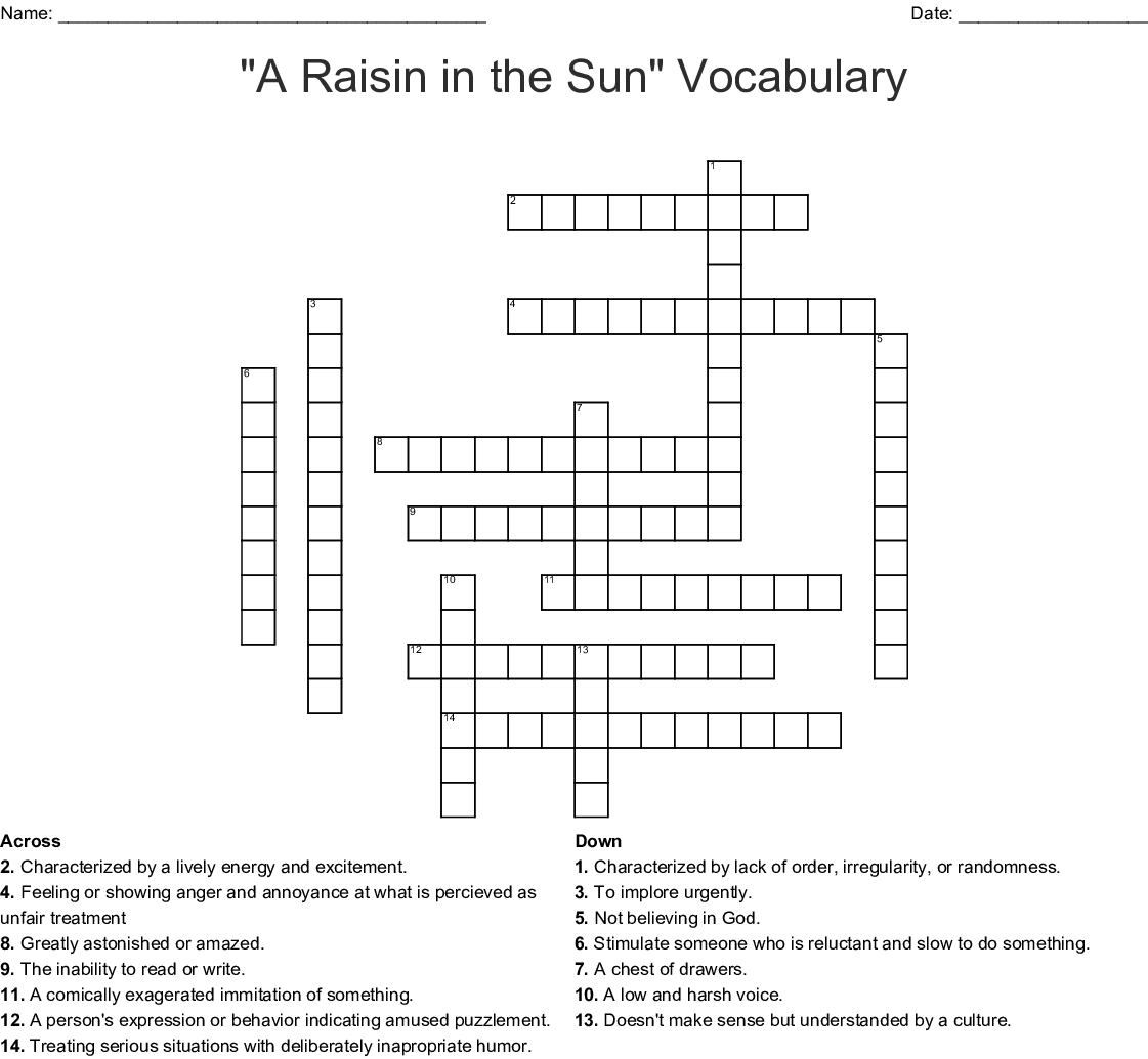 A Raisin In The Sun Vocabulary Crossword Wordmint