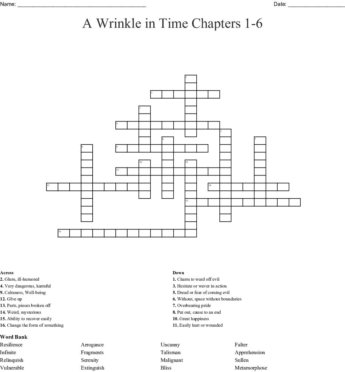 A Wrinkle in Time Chapters 1-6 Crossword - WordMint