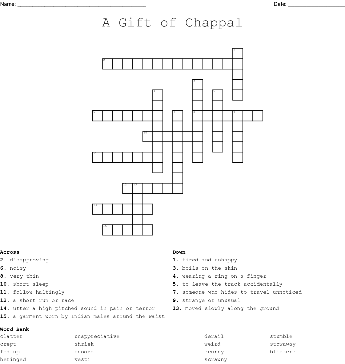 A Gift Of Chappal Crossword Wordmint