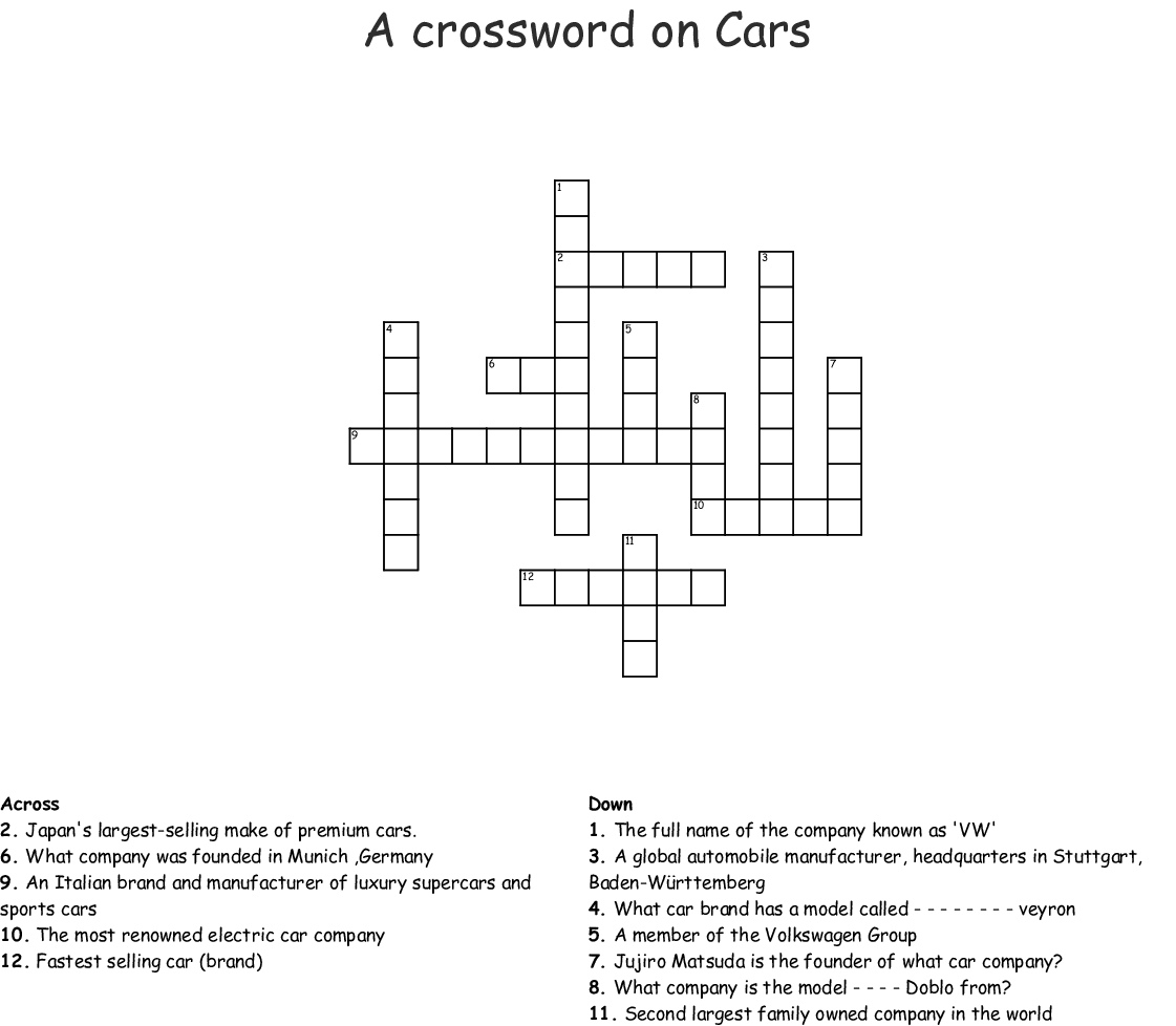 Cars Crossword Wordmint