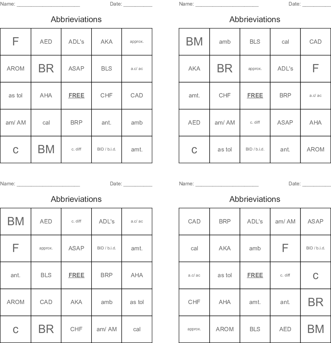 Medical Abbreviations and Symbols Bingo Cards - WordMint