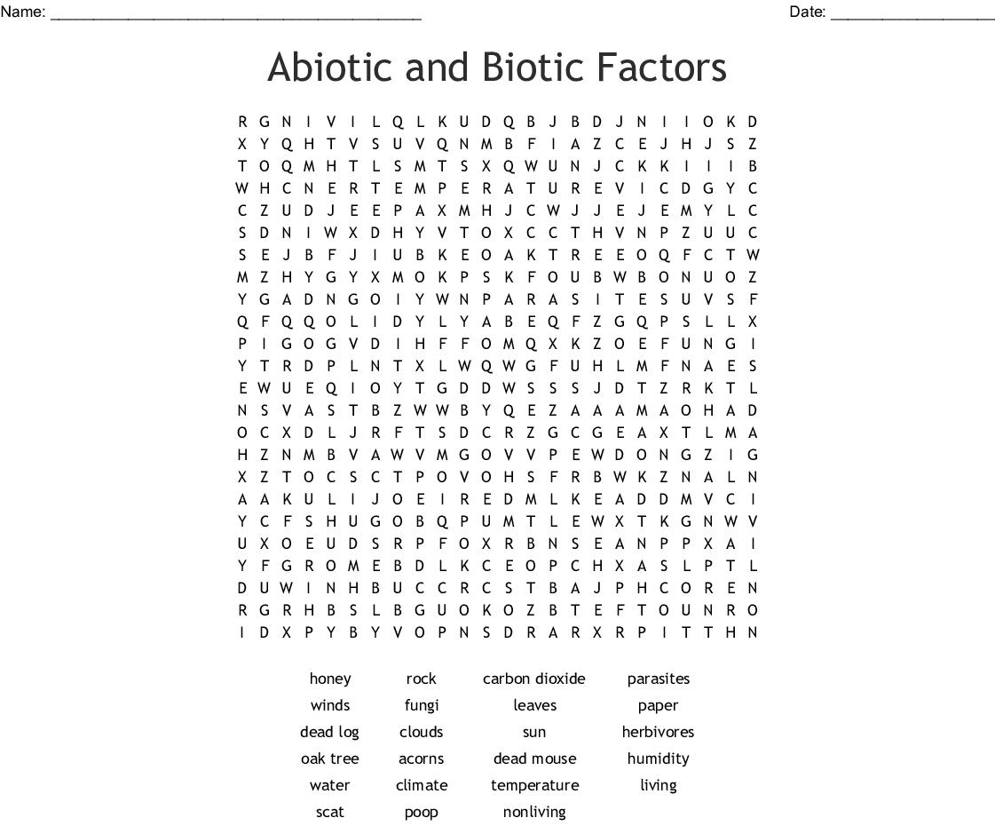 Abiotic and Biotic Factors Word Search - WordMint