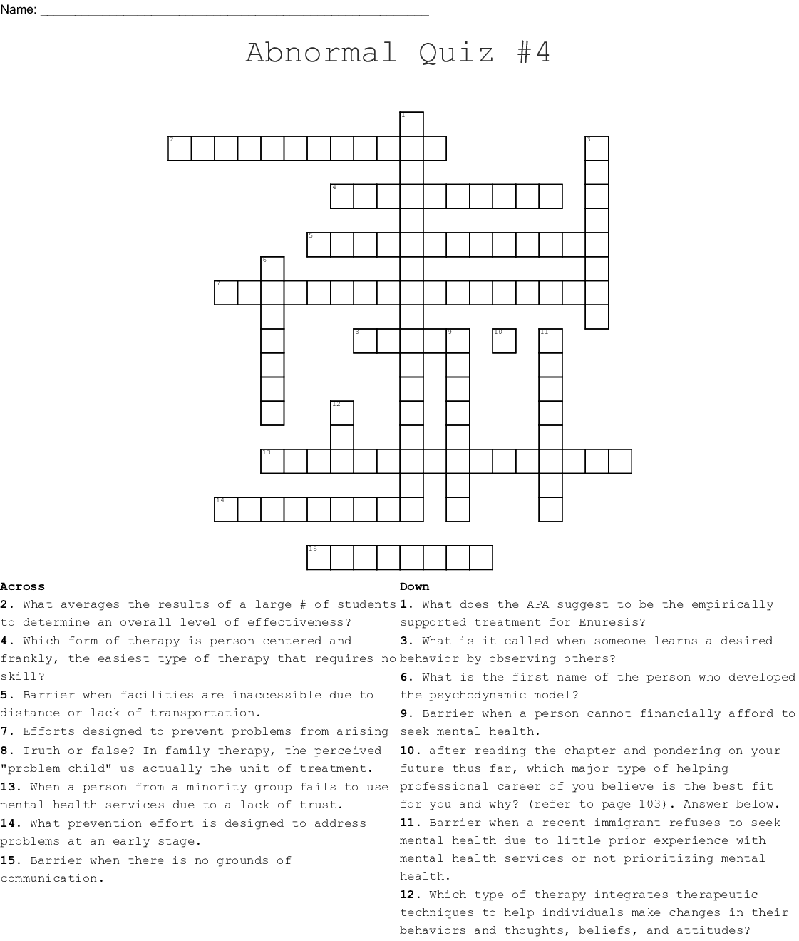 Psychology Crosswords, Word Searches, Bingo Cards   WordMint