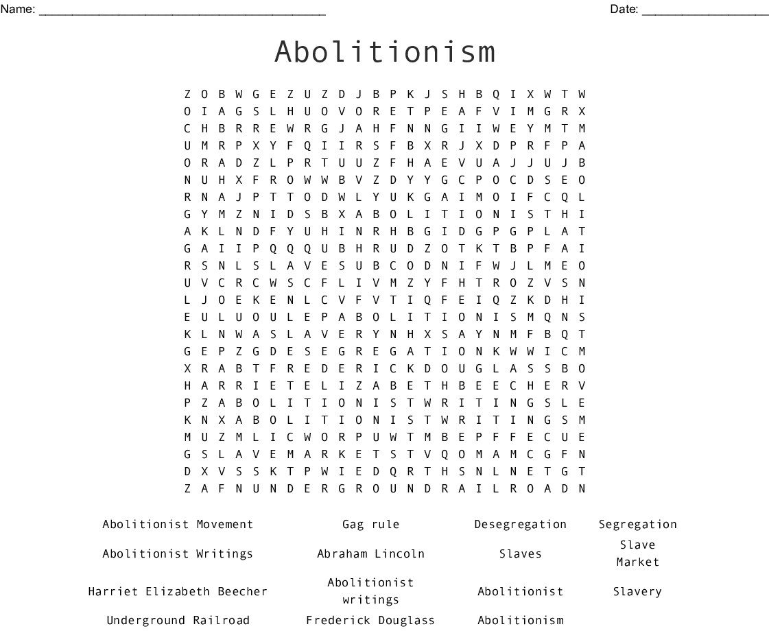 Abolitionism Word Search - WordMint