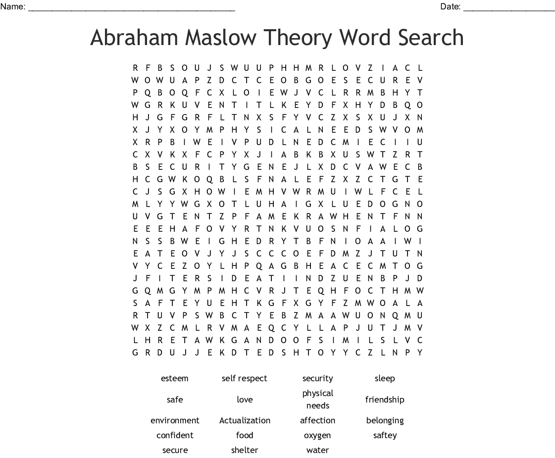 Maslow's Hierarchy of Needs Word Search - WordMint