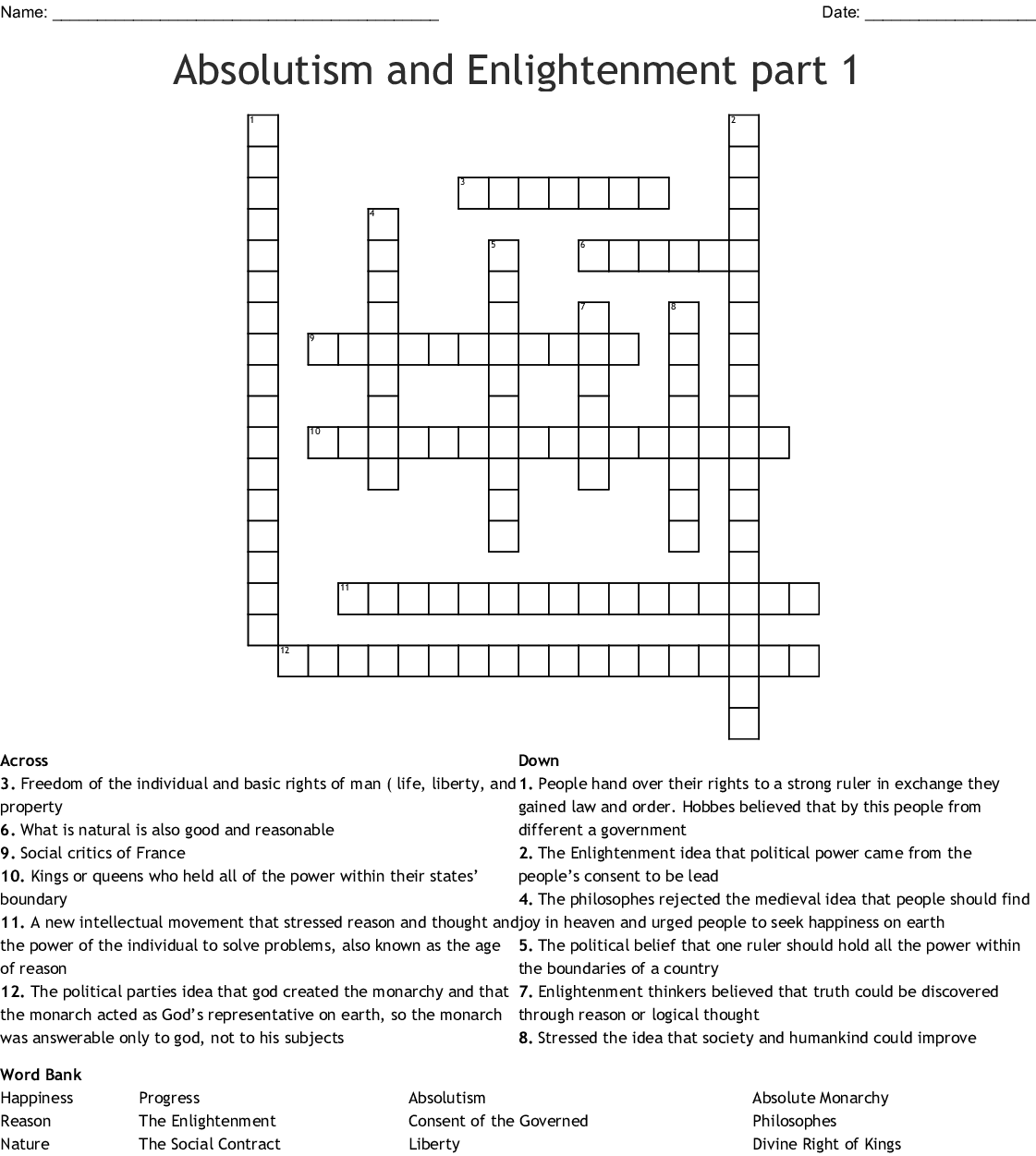 Absolutism And Enlightenment Part 1 Crossword Wordmint