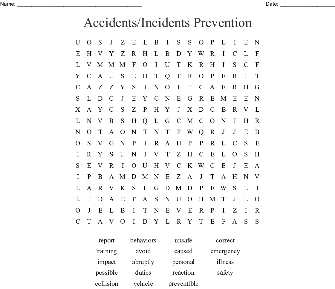 Accidents/Incidents Prevention Word Search - WordMint