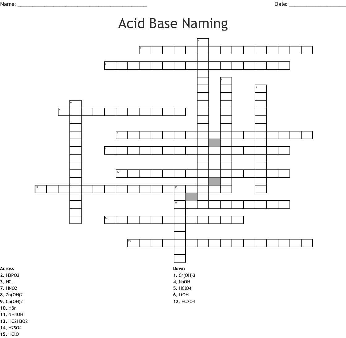 Common Acids Crossword Wordmint