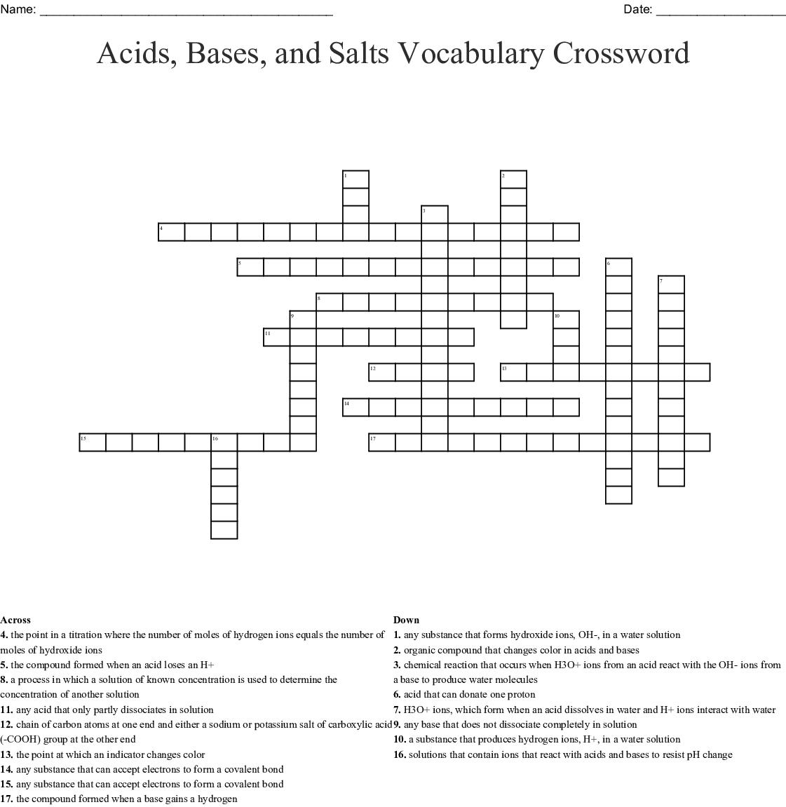 Acids, Bases, and Salts Vocabulary Crossword - WordMint