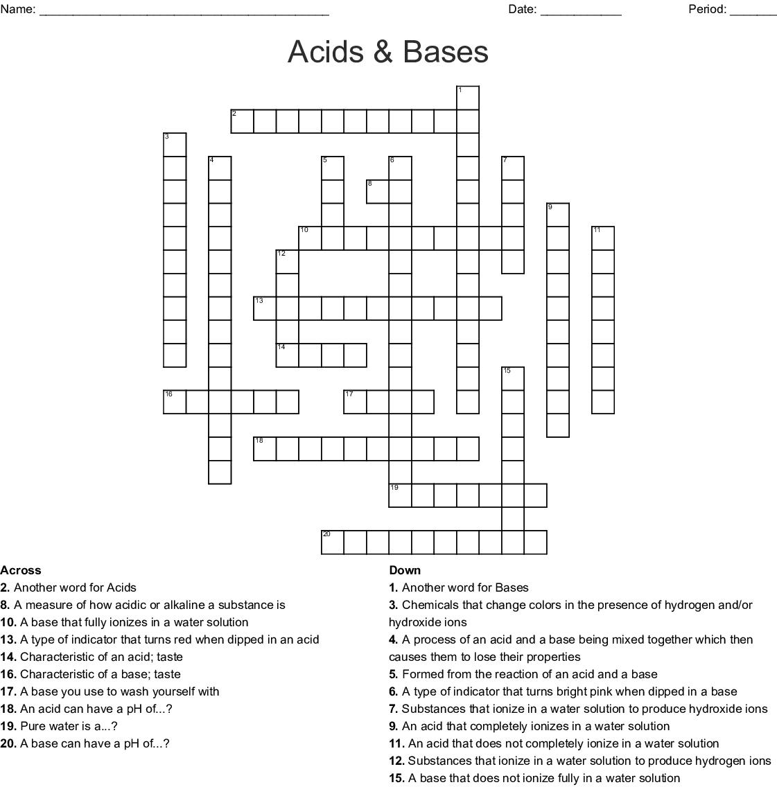 Acids & Bases Crossword - WordMint