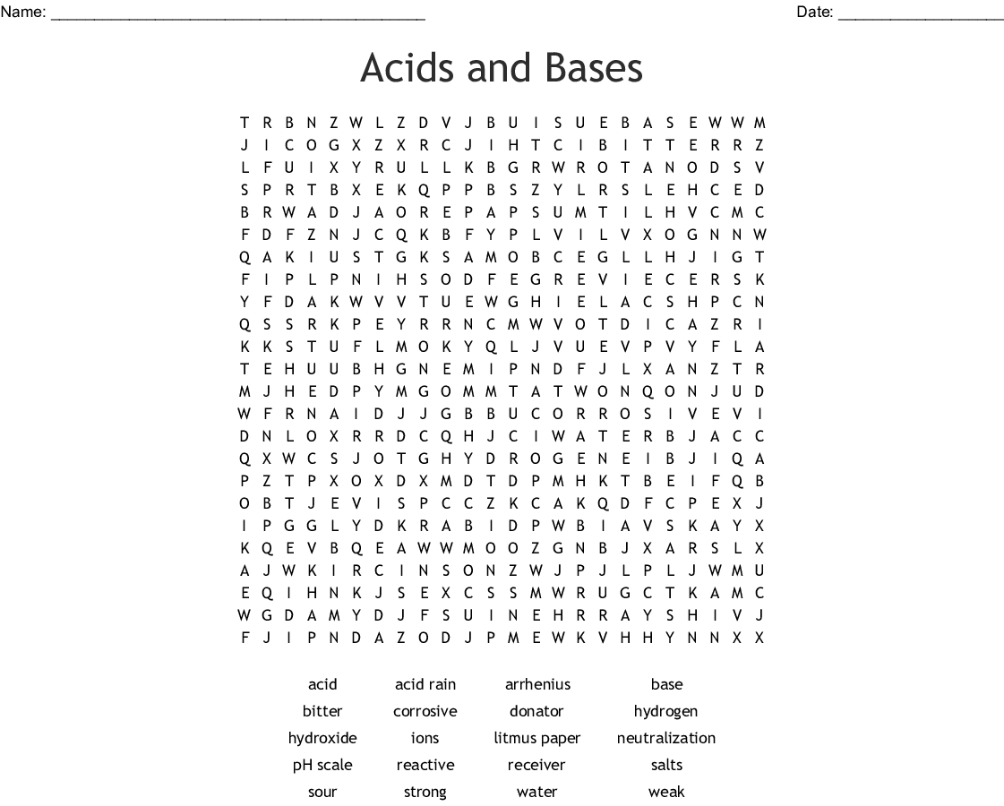 Acids Bases and Salts Word Search - WordMint