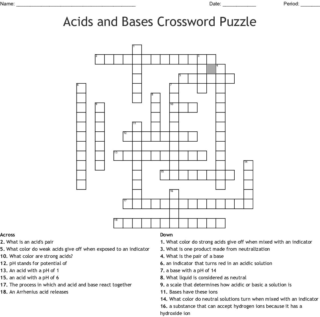 Acids and Bases Crossword - WordMint