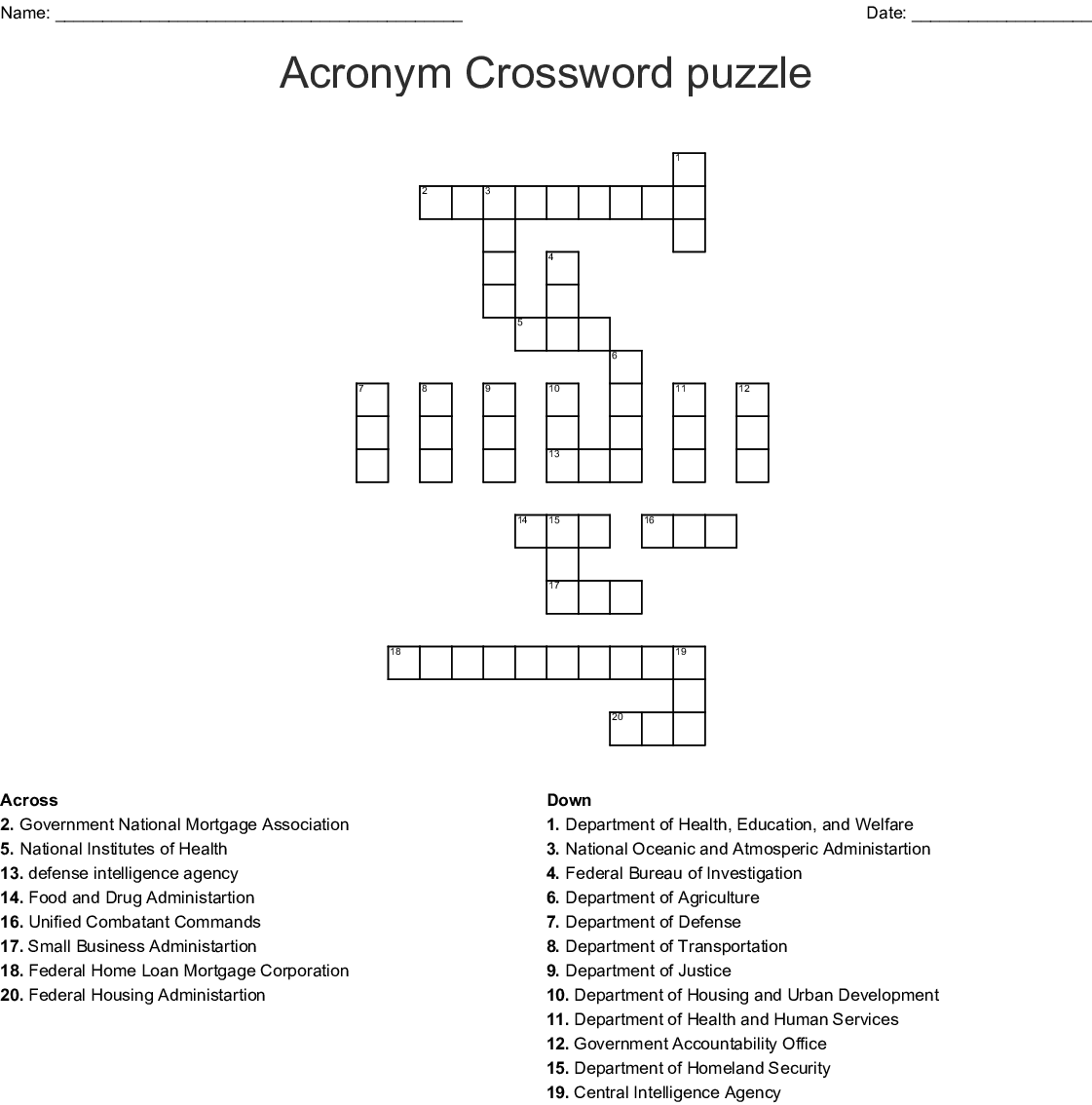 Acronym Crossword Puzzle Wordmint