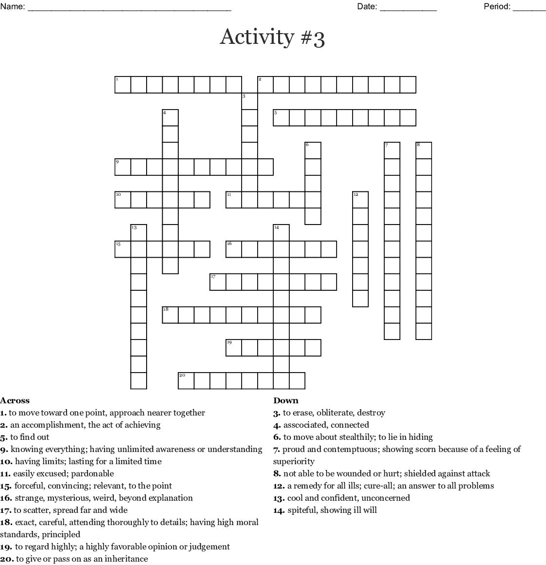 Vocabulary #4 Crossword - WordMint
