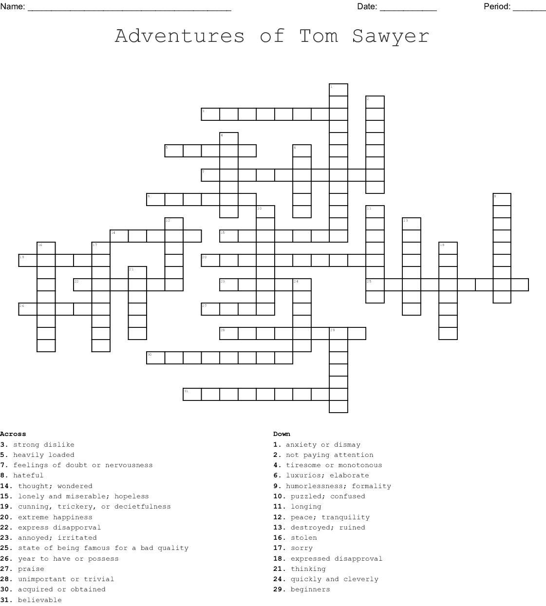 Tom Sawyer Vocabulary Crossword Wordmint